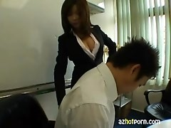 AzHotPorn.com - Japanese Lady with big tits giving blowjobs
